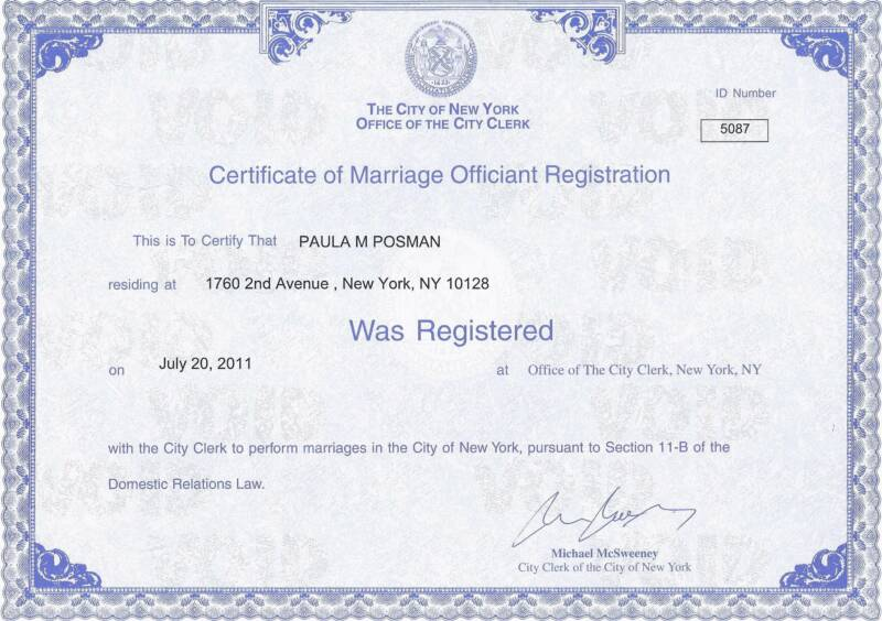 Ny Marriage Our 818-0689 212 Officiant Nyc Book Wedding